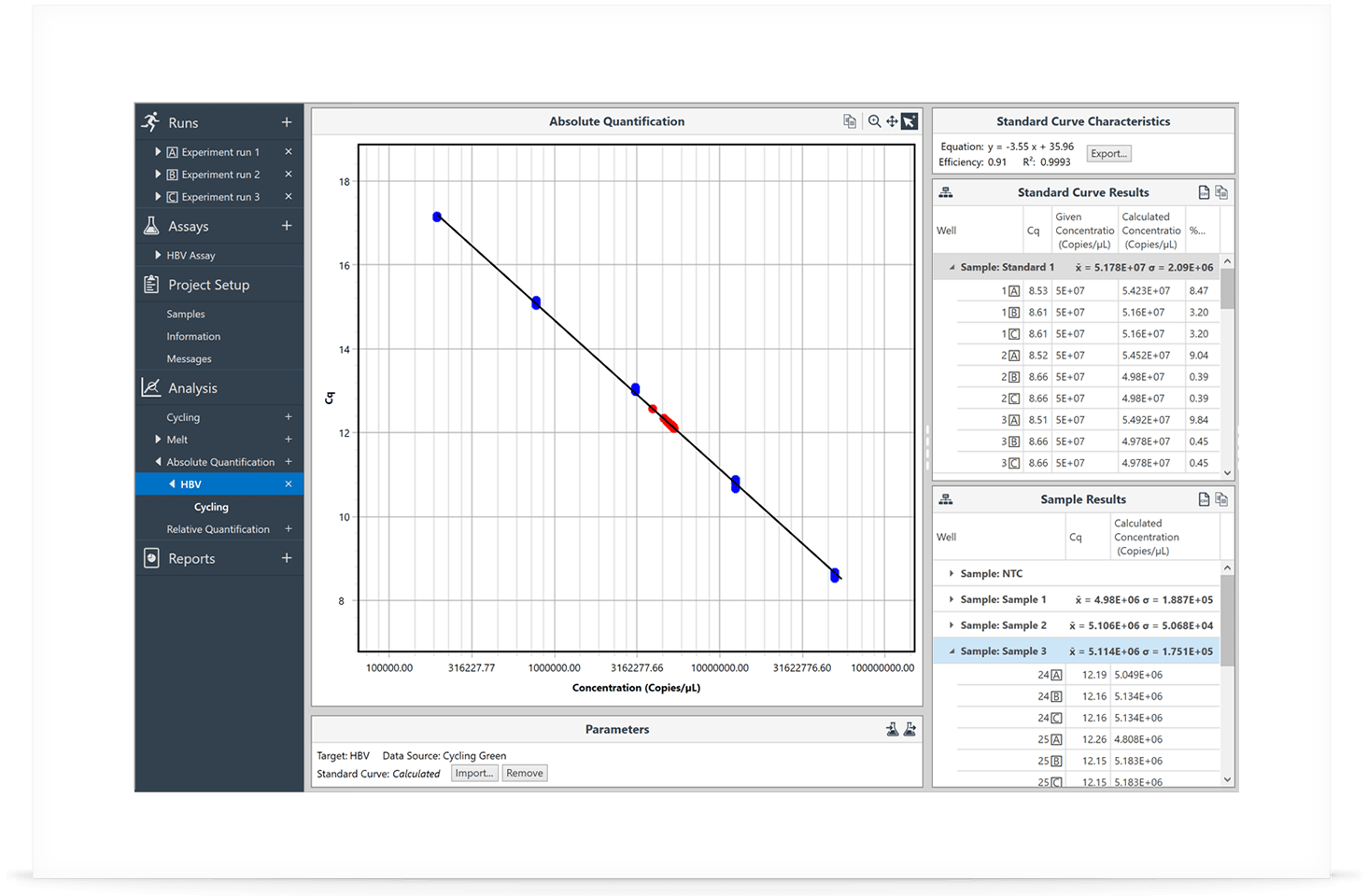 Mic qPCR Cycler Software - Projects Multi-Run Analysis